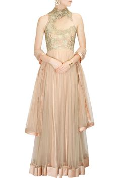 Gaurav Gupta presents Peach floral lace embroidered anarkali set available only at Pernia's Pop-Up Shop. Indian Dresses, Indian Outfits, Indian Clothes, Latest Designer Sarees, Designer Dresses, Dresser, Salwar Kameez, Pernia Pop Up Shop, Indian Couture