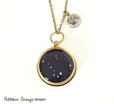 Stars and Moon Working Compass and Locket Necklace - Tiny Moon Locket and Personalized Constellation Compass, Custom Zodiac  Jewelry
