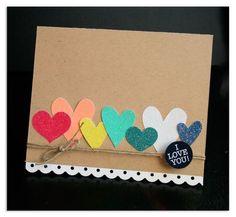 I love you hearts card