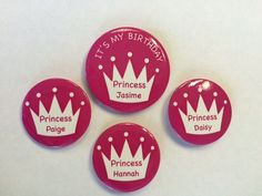 Personalised Birthday Party Badge Sets - Crowns – London Emblem Princess Daisy, 50th Birthday Party, Crowns, Badges, Special Occasion, London, Badge, Crown, London England