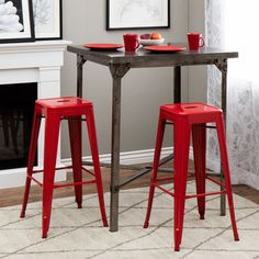 Shop for Tabouret 30-inch Red Metal Bar Stools (Set of 2) and more for everyday discount prices at Overstock.com - Your Online Furniture Store!
