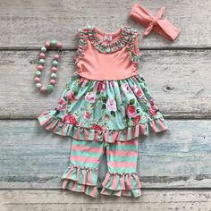 coral floral sleeveless clothing cotton boutique outfits top with matching bow & necklace