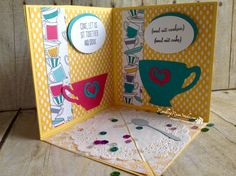 Today's card was so much fun to make...I followed the instructions for this corner pop up card from Dawn Griffith's video here and came up with this card...