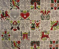 Vintage folk art wallpaper