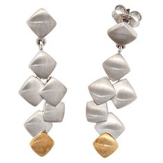 Earrings with Plug, 585 Gold & 925 Silver Combined, Matt, Ladies Funky Earrings, Pearl Earrings, Drop Earrings, Precious Metals, 925 Silver, Plugs, Jewerly, Stone, Lady