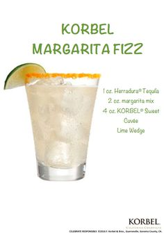 Brunch isn't just for Mimosas! Serve your besties a KORBEL Margarita Fizz at your weekend brunch. Pour 1 oz. Herradura tequila and 2 oz. margarita mix into a shaker with ice. Shake and strain into a rocks glass over ice. Top with 4 oz. KORBEL Sweet Cuvée. Garnish with a lime wedge.