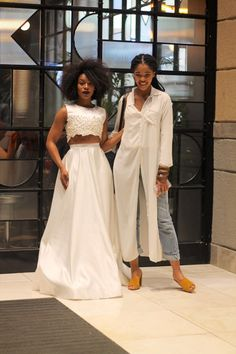 Nomzamo Mbatha and Lulama Wolf Red Fashion, Star Fashion, African Fashion, Womens Fashion, Monochrome Fashion, Modern Fashion, Chic Outfits, Fashion Outfits, Sunday Outfits