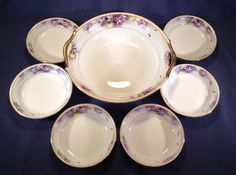 SOLD! NIPPON-Violets-Berry-Bowl-6-Individual-bowls-Hand-Painted-With-Gilding
