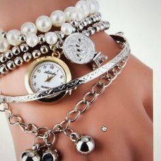WHITE SILVER. Faux pearl bracelet watch  Steampunk Prom. Fancy. Evening. Bracelet watch. Jewelry Bracelets