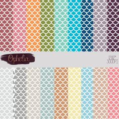 Modern Colorful Scales Digital Paper Pack-commercial by Opheliafpg
