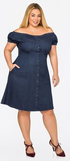 Plus Size Off-Shoulder Denim Skater Dress