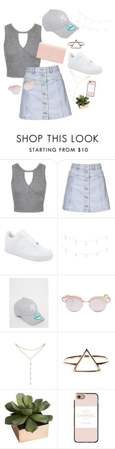"""Untitled #23"" by sanna-emilie ❤ liked on Polyvore featuring Miss Selfridge, Topshop, NIKE, Pier 1 Imports, New Era, Le Specs, GUESS by Marciano, CB2, Casetify and Yves Saint Laurent"