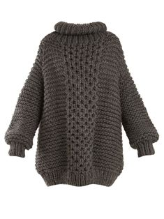 Designer Clothes, Shoes & Bags for Women Chunky Oversized Sweater, Chunky Wool, Gray Sweater, Oversized Tops, Thick Sweaters, Wool Sweaters, I Love Mr Mittens, Woolen Tops, Roll Neck Sweater