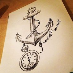 anchor and clock tattoo draw