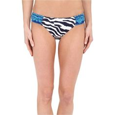 Tommy Bahama Zebra Side Shirred Hipster (Mare Navy) Women's Swimwear ($40) ❤ liked on Polyvore featuring swimwear, bikinis, bikini bottoms, navy, navy bikini bottoms, tommy bahama bikini, ruched bikini bottoms swimwear, ruched bottom bikini and ruched bikini