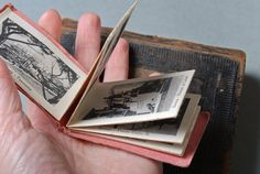 SALE 25% off... Vintage miniature book,  book with old view photos. Ricordo Di Savona