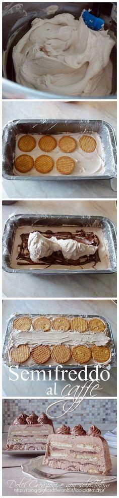 Semifreddo al caffe', biscotti e nutella | senza cottura Italian Desserts, Sweet Desserts, Italian Recipes, Sweet Recipes, Biscuit Dessert Recipe, Dessert Recipes, Nutella Recipes, Chocolate Recipes, Gelato
