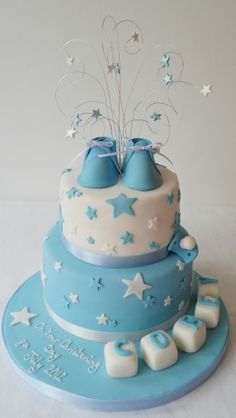 Make  A Wish Christening Cake   Like this minus the wire display on the top