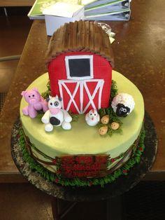 Farm cake with 3d fondant barn, Sweet Layers