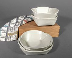 Set of 4 White Matte Handbuilt Bowls by LindaMosleyPottery on Etsy