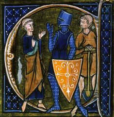 Medieval manuscript illustration of the three classes of medieval society: clergy, knights, and the peasantry