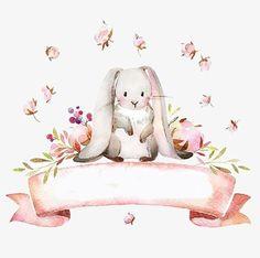 небольшой свежий кролик, розовый цветок, кролик, Милые животные Изображение PNG