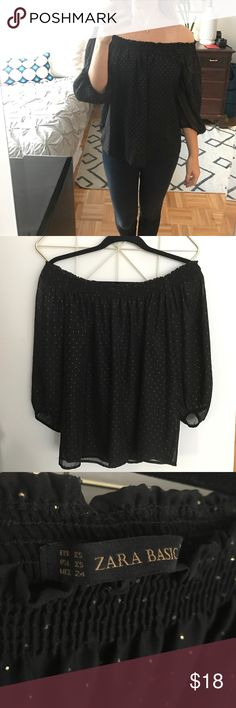 Zara off the shoulder black chiffon top, size XS Zara black off the shoulder chiffon top with gold Swiss dot detailing, size XS. Like NEW! Worn only once and in great condition. Gorgeous for date night or a night out! Zara Tops Blouses