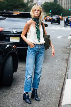 HAVE A GOOD FRAY | | Unlike stretch versions, jeans made of 100% cotton, such as these 501s on Danish model Ulrikke Hoyer, can be cut off with stylish results.