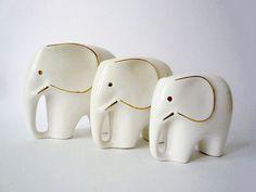 Christmas In July - 3 Vintage Porcelain Elephant Figurines - CIJ via Etsy