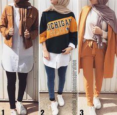 Hijabi-Outfits kombinieren und kombinieren – Just Trendy Girls - Mode Outfits Modern Hijab Fashion, Street Hijab Fashion, Hijab Fashion Inspiration, Muslim Fashion, Hijab Fashion Summer, Hijab Casual, Hijab Jeans, Outfits Kombinieren, Mode Abaya