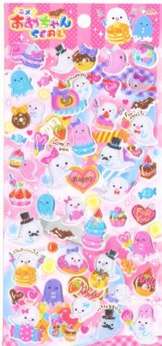 Kawaii Japan Sticker Sheet Assort: Amechan Series Happy Ghost Sweets Stickers