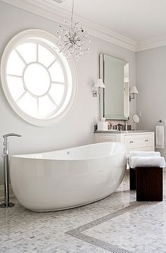Bathroom : gray and white