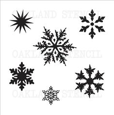 "Snowflake STENCIL **6 on a sheet 2""--4"" tall**for Painting Winter Signs Wood Christmas Holiday Decor Fabric Canvas Scrapbook Airbrush Crafts"