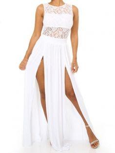 White Sleeveless Double Slits Sheer Back Laced Dresses