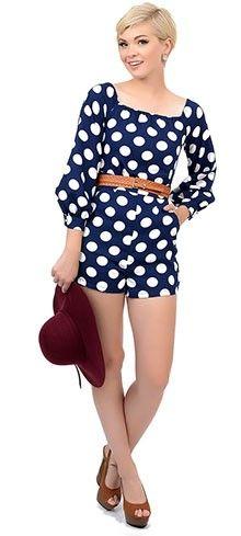 1960s Style Navy Blue & White Polka Dot Belted Romper