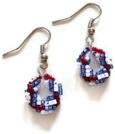 Red White and Blue Bead Spiral Rope Stitch Wreath Earrings   craftingmemories - Jewelry on ArtFire