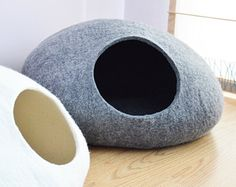 Felted wool is a great material but too expensive. Pet bed / Cat bed / Cat cave / puppy bed / cat house / pet furniture. Custom color hand-felted eco friendly cat bed S, M, L or XL sizes