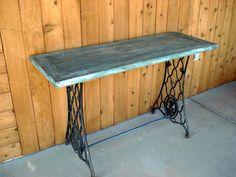 Must:  Vintage Singer Sewing Machine Legs / Wood Top Table $325.00