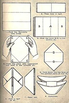 Illustration of The Boats Napkin Folding Technique. Several different styles on this site.