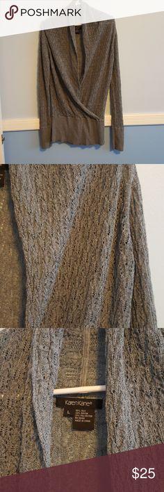 Karen Kane top Very pretty grey blue sparkly top. 55% silk, 24% rayon, 21% polyester. Karen kane Tops