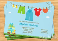Baby Boy Laundry Baby Shower Invitation by eventfulcards on Etsy, $15.99