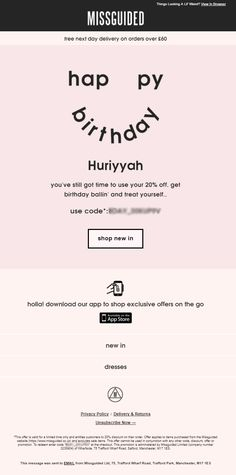 Personalized Birthday Email From Missguided With Discount Coupon Code EmailMarketing Marketing