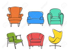 Vector Graphic Set Of Hand Drawn Accent Chairs. Accent Chair.. Royalty Free Cliparts, Vectors, And Stock Illustration. Image 59253681.