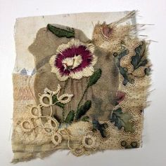 Thread and Thrift  fabric collage for handmade cards