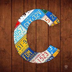 Letter C Alphabet Vintage License Plate Art by Design Turnpike