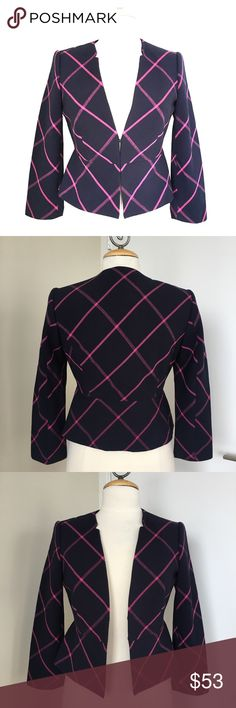 NWOT The Limited Plaid Blazer NWOT The Limited Plaid Blazer. Colors are Navy and Pink. Size XS. Cute peplum style and notch front collar. Hook and eye closure, fully lined. Never been worn. The Limited Jackets & Coats