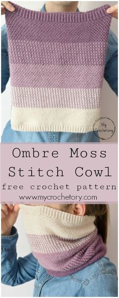 Ombre Moss Stitch Cowl – free crochet pattern. Beautiful crochet cowl with ombre effect.