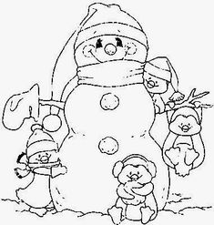 Snowman And Penguin Coloring Pages - Printable Coloring Pages Penguin Coloring Pages, Pattern Coloring Pages, Christmas Coloring Pages, Colouring Pages, Coloring Books, Coloring Sheets, Christmas Images, Christmas Colors, Christmas Art