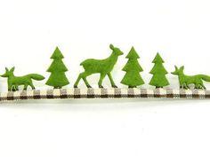 Green Christmas Scene Felt/Gingham Christmas Ribbon 25mm wide - 5 metre roll Preview