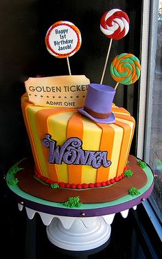 New birthday cake kids candy ideas Wonka Chocolate, Chocolate Party, Cake Chocolate, Willy Wonka, Cupcakes, Cupcake Cakes, Chocolates, Charlie Chocolate Factory, Movie Cakes